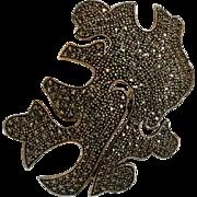 Judith Jack sterling silver marcasite pin Modernist design