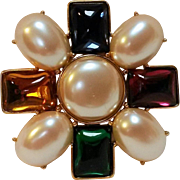 SALE PENDING Monet pin simulated pearl and glass cabochons