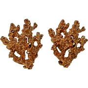 Napier gold sculptured coral earrings clip 1971