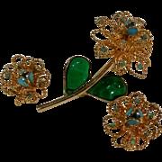 Poured glass petal flower pin earrings set  blue collet set stones