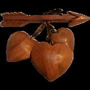 Vintage wood heart pin dangling hearts arrow