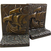Pompeian Bronze Clad Bookends, The MayflowerShip at Sea
