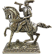 Vintage Cast Silver Metal Horseback Medieval Warrior or Indian Bookend