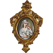 Antique Berlin Hand Painted Porcelain Plaque of the Vestal Virgin after Angelica Kauffman