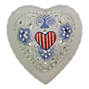 Cybis Reticulated Bisque Porcelain Patriotic Heart Trinket Box