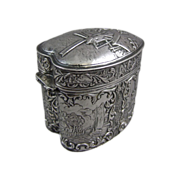 Repousse Heart Shaped Hinged Box Dutch 835 Silver