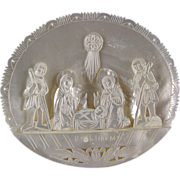 Carved Mother of Pearl Shell Diorama Table Ornament Holy Family Nativity