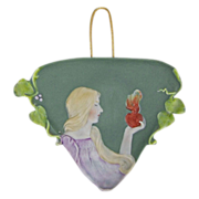 Jasperware Art Nouveau Polychrome Sacred Heart Plaque Burning Heart
