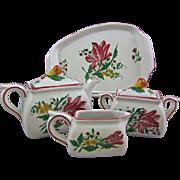 Deruta Italy Majolica Faience Tea Coffee Set with Tray