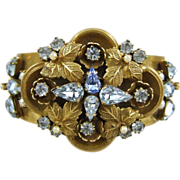 Vintage Stamped Brass Rhinestone Bracelet with Double Hidden Hinge
