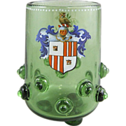 REDUCED Bohemian Historismus Toasting Glass Armorial Footed Beaker with Applied Prunts