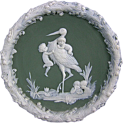 SOLD Antique Jasperware Circular Plaque Stork and Cherubs