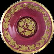 Moser Bohemian Ruby Glass Bowl with Gold Gilt Enamel