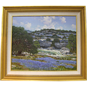William  Slaughter Painting Texas Hill Country Creek with Bluebonnets