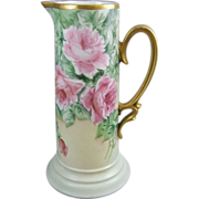 Hand Painted Porcelain Tankard Pitcher with Roses