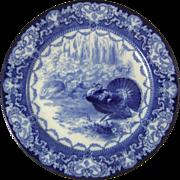 Doulton Burslem Flow Blue Turkey Plate Watteau Transferware Plate