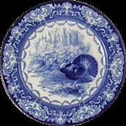 Doulton Burslem Flow Blue Turkey Plate Watteau Transfer Ware Plate