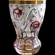 19th Century Bohemian Glass Intaglio Cut Beaker