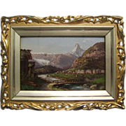 Matterhorn Alps Oil Painting  Zermatt Mont Cervin Switzerland
