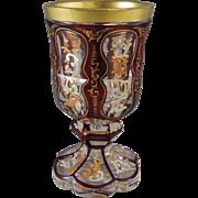 Antique Biedermeier Bohemian Ruby Cut to Clear Enameled Glass Goblet