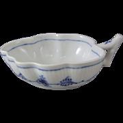 Royal Copenhagen Danish Porcelain Blue Fluted Plain Handled Leaf Dish #349