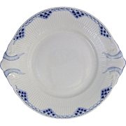 Royal Copenhagen Porcelain Blue Fluted Princess Cake Dish 422