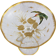 Moser Bohemian Glass Compote with Sculptured Enamel Hummingbird