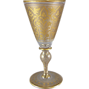 Fritz Heckert Bohemian Glass Intaglio & Gilt Enamel Wine Goblet