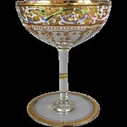 Moser Karlsbad Gold Gilt Enamel Acanthus Pattern Champagne Wine Stem