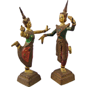 Cold Painted Bronze Figures of Siamese Dancers