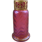 Kralik Bohemian Glass Raspberry Red Iridescent Art Glass Vase