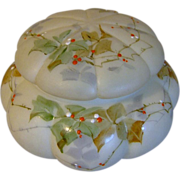 REDUCED Smith Brothers Melon Ribbed Dresser Box with Enameled Ivy & Raised Berry Decor