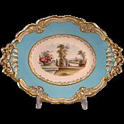 REDUCED Chamberlain Worcester  Lozenge Form Scenic Porcelain Dessert Stand