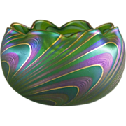 Austrian Bohemian Art Glass Pulled Wave Pattern Bowl