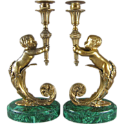19th Century French Figural Ormolu Bronze and Malachite Candlesticks