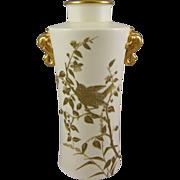 Royal Worcester Circa 1901 Chinese Style Blush Ivory Vase with Elephant Handles