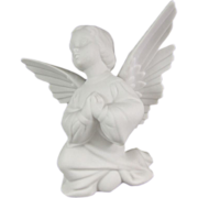 Boehm Pure White Bisque Porcelain Kneeling Girl Angel