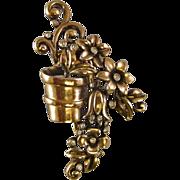REDUCED Crown Trifari A. Philippe Flower Pot Fur Clip