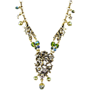 Kirks Folly Cupid Cherub Necklace with Aurora Borealis Crystals