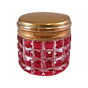 Antique Cranberry Ruby Cut to Clear Glass Trinket Box or Vanity Jar
