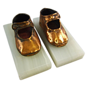 Vintage Copper Bronzed Baby Shoe Bookends on Onyx Base