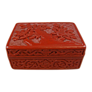 Chinese Carved Cinnabar Lacquer Rectangular Box with Lid
