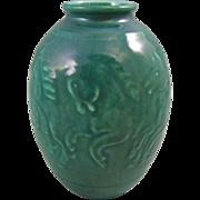 Rookwood Pottery Mid Century High Glaze Sea Green Vase with Running Horses