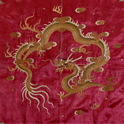 SOLD HUGE Antique c.1800 Chinese Silk Hand Embroidered Throw Hanging - Red Tag Sale Item