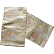 Vintage Fans & Flowers & Butterflies Silk Mix Japanese Obi