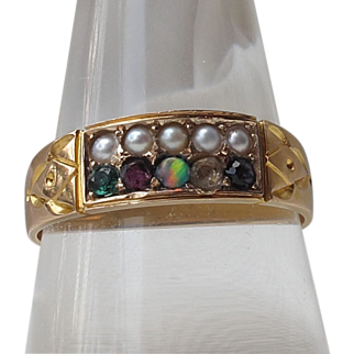 Antique 15 ct Gold ADORE Amethyst Diamond Opal Ruby Emerald Ring & pearls  UNISEX