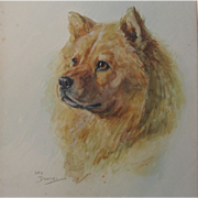 Lucy Dawson Dog Chow Watercolour Watercolor Painting Listed Artist