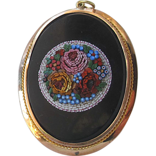 HUGE Micro Mosaic Micromosaic Flowers Pendant 18ct Gold Antique Italian Victorian Grand Tour