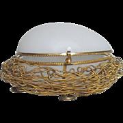Antique 'Palais Royale' Ormolu White Opaline Glass Egg in a Nest French Gilt