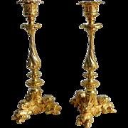 French Palais Royale Gilt Bronze Ormolu Candlesticks Sticks Pair Antique